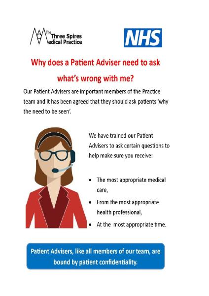 Why does a patient adviser...
